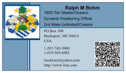 Ralph M Bohm - business card